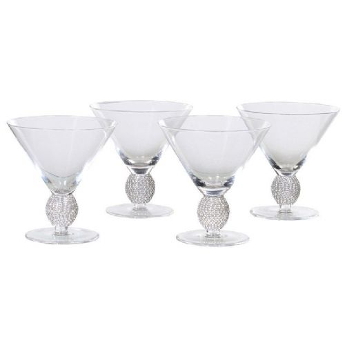 Set of 4 Silver Diamante Cocktail Glasses
